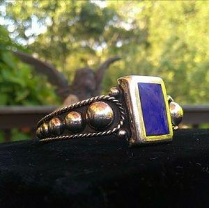 🎊SALE VTG 925 Silver Blue Stone Inlay Cuff MEXICO